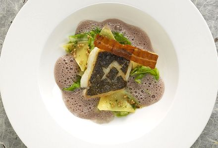 Filet de silure, Krautfleckerln (chou et pâtes), sauce moutarde au vin rouge