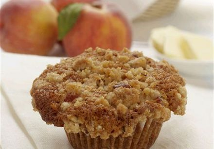 Muffin streusel aux pêches